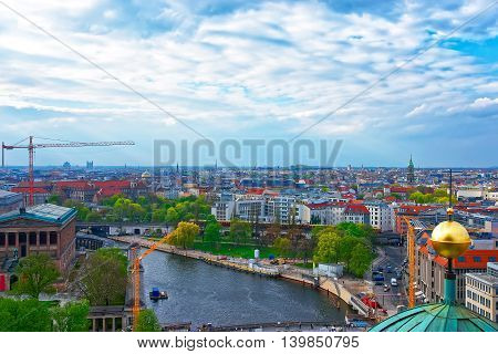 Aerial View From Dome Of Berlin Cathedral To Spree River
