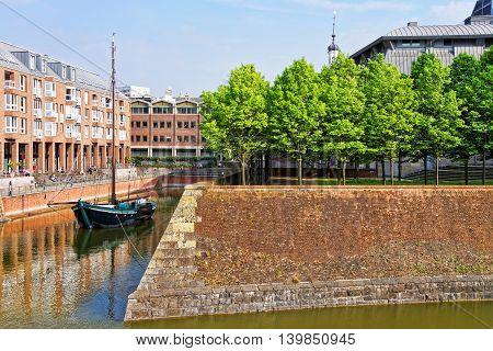 Boat in harbor in Dusseldorf in Germany. Dusseldorf
