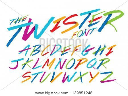 Vector of hand writing font and alphabet