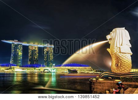 Merlion Statue At Merlion Park And Marina Bay Sands At Night