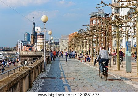 Rhine Embankment Promenade In The Old City Center Of Dusseldorf