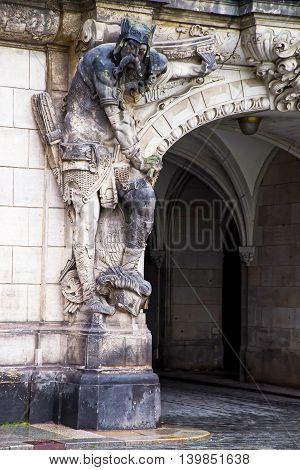 Sculpture Of Man On The Georgenbau Gates In Dresden