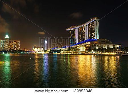 Marina Bay Sands Hotel And Casino At Night