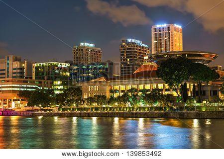 Parliament Building At Marina Bay In Singapore At Night