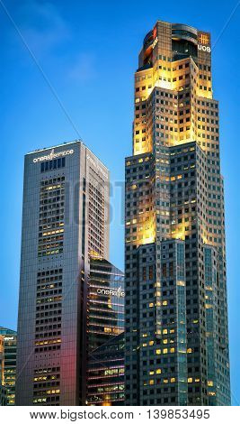 One Raffles Place And Uob Plaza Of Singapore Skyline