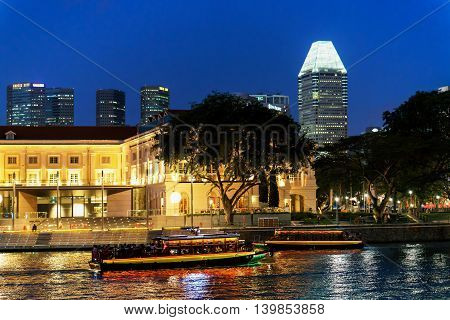 Singapore Skyline At The Quay In The Downtown At Night