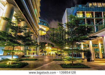 Street Near Embankment Of Marina Bay In Singapore At Night
