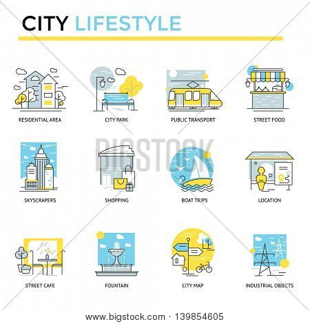 City lifestyle concept icons, thin line, flat design