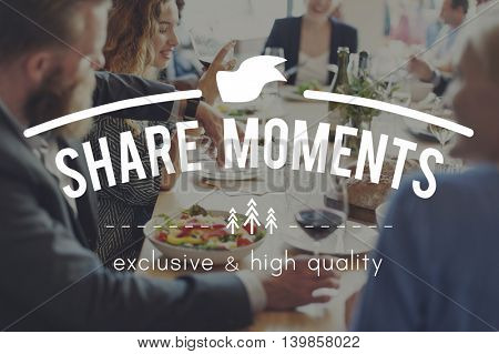 Share Ideas Moments Connection Share Social Concept