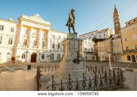 Famouse violinist and composer Giuseppe Tartini monument on the main square in Piran town in Slovenia