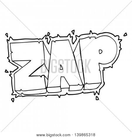 freehand drawn black and white cartoon zap symbol