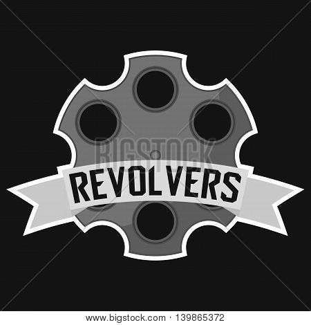 Modern professional revolver logo for sport team. Revolvers mascot for sport teams. Revolvers, vector logo, symbol on a dark background