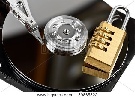data protection on Hard drive with lock at white