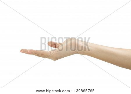 Woman hand in hold position isolated on white background