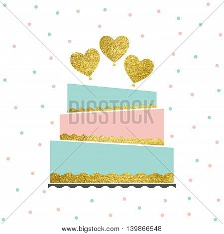 Vector illustration of happy birthday card. Greeting card for birthday or invitation. Birthday party cake with gold baloons.