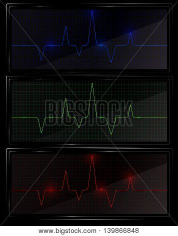 Heart pulse graphic. Three cardio monitors with different color of pulse line. Cardiology vector illustration.