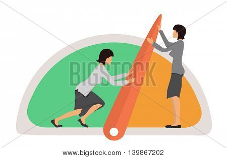 Benchmarking concept illustration. Two women and Speedometer, manometer or general indicators with needles, vector