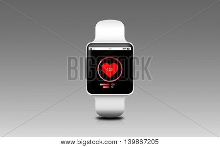 modern technology, healthcare, object and media concept - illustration of black smart watch with heart rate icon on screen over gray background