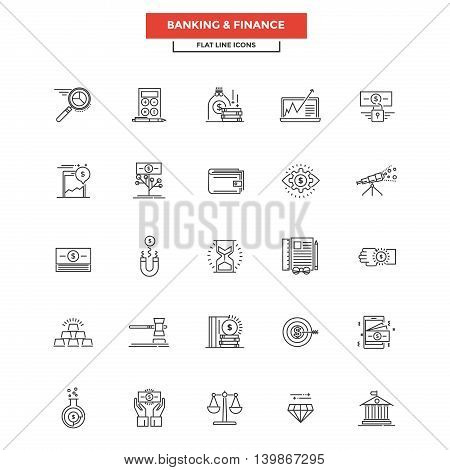 Set of Modern Flat Line icon Concept of Banking and Finance use in Web Project and Applications. Simple mono linear pictogram pack. Vector Illustration