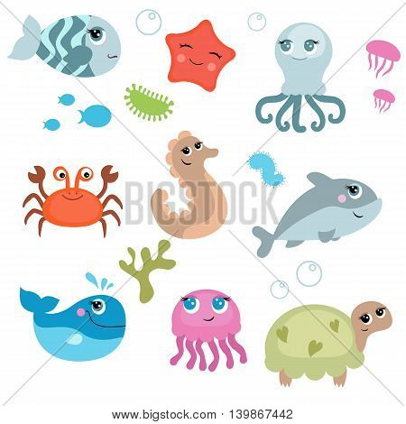 Cute sea life creatures. Isolated vector illustration.