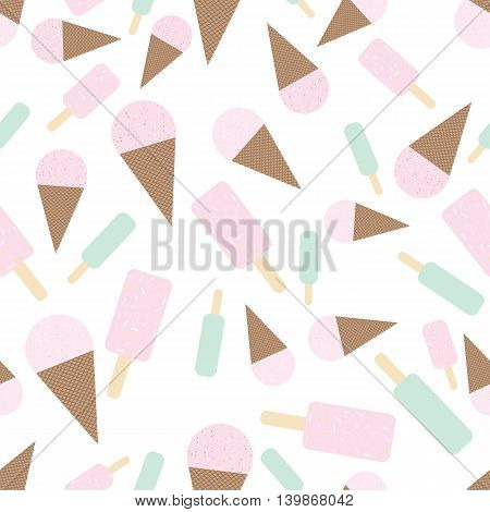 Mint and strawberry icecream seamless pattern. Flat and cute