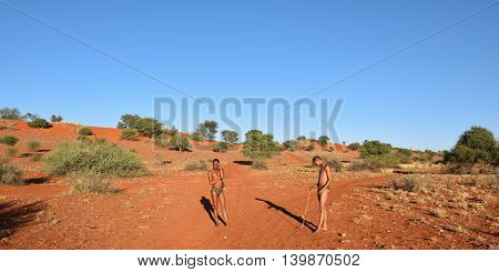 Bushmen Hunters In The Kalahari Desert, Namibia