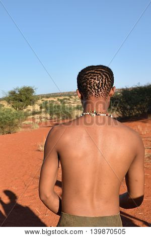Bushman Hunter In The Kalahari Desert, Namibia