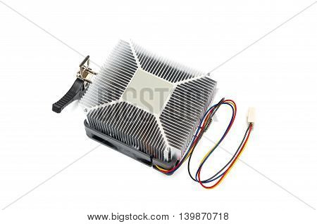 Computer CPU Heatsink And Thermal Paste on white background