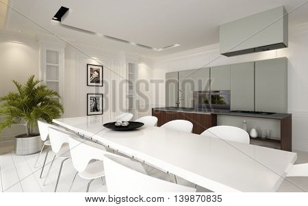 Modern luxury open plan dining room kitchen living area with fitted units and appliances and a stylish white table and chairs illuminated by down lights, 3d rendering