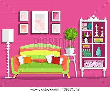 Cute graphic living room interior design with furniture: sofa, flowerpot, bookcase, lamp. Flat style vector illustration
