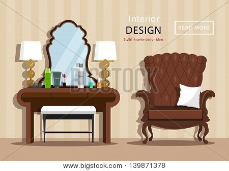 Vintage dressing table with mirror and cosmetics for a woman, little chair and armchair in house interior. Flat style vector illustration