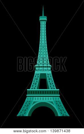 High quality, detailed most famous World landmark. An image of Paris Eiffel Tower Icon. Paris Eiffel Tower card. Travel vector