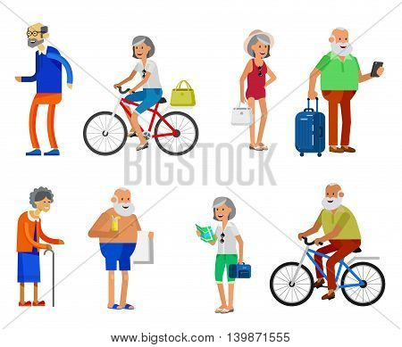 Character travelers. Old age retired tourists. Elderly couple senior having summer vacation with map and gadget, senior in swimsuits go on beach, riding on a bicycle. Healt icons