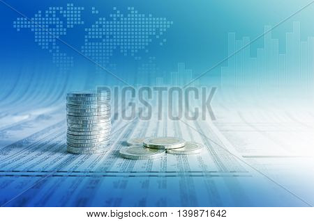 Business Concept, Coin Stacks On News Paper With Financial Graph Stat Business And World Map Backgro