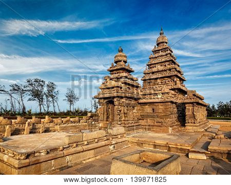 Famous Tamil Nadu landmark - Shore temple, world  heritage site in  Mahabalipuram, Tamil Nadu, India
