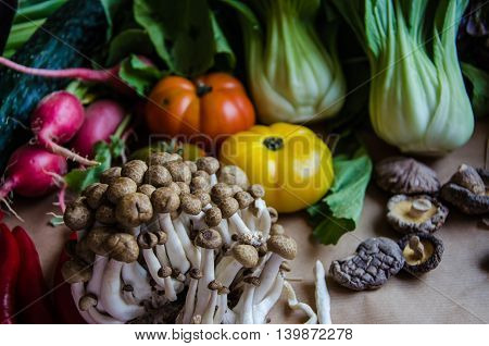 Fifth set of selected quality vegetables and another food