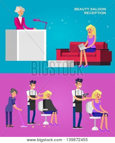 Detailed character Barber makes a hair washing, cut and styling for glamorous girl, beautiful smiling blond woman. Web banner template  for beauty saloon