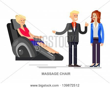 Vector detailed character seller man sells massage chair. Woman buy massager and relax, cool flat  illustration isolated on white background.