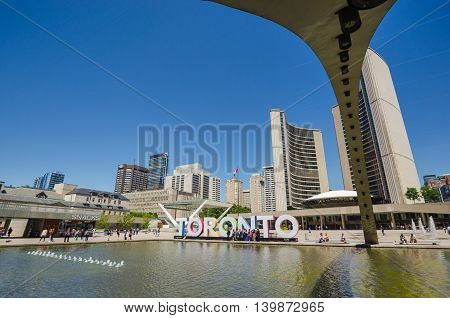 Toronto, Ca - 4 July 2016: Nathan Phillips Square And New City Hall In Toronto.