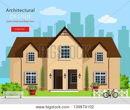Modern graphic architectural design. Colorful set: house, bench, yard, bicycle, flowers and trees. Flat style vector house building. Cute house design.
