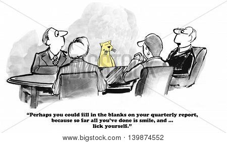 Business cartoon about procrastinating and being late with the quarterly report.