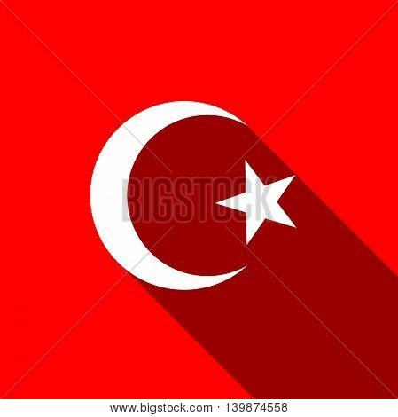 Islam symbol icon with long shadow. Adobe illustrator