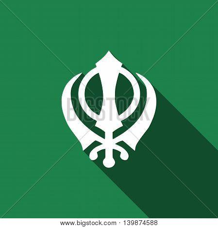 Khanda Sikh icon with long shadow. Adobe illustrator