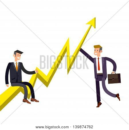 Vector detailed character businessman climbed the growing schedule. Business concept career growth job change. Web vector illustration
