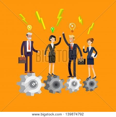 Vector detailed character businessman and businesswoman pieces of company mechanism. Business concept, team turn up cog wheel gear infographic