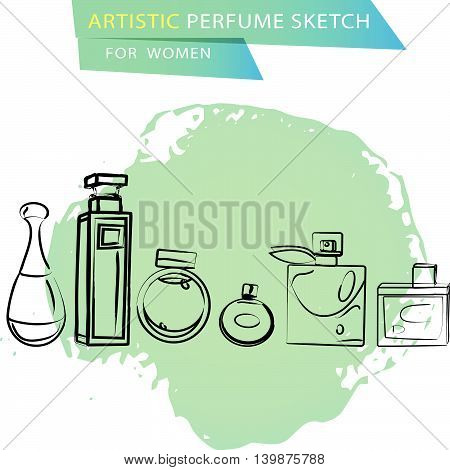 Vector artistic perfume sketch for women isolated on white background. Ink drawn. Art design gradient paint drop, spot template for package, illustration, perfume shop, card, logo, fashion magazine.
