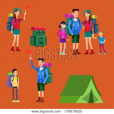 vector illustration of summer camp. Vector characters counselor and children. Camping banner and icon