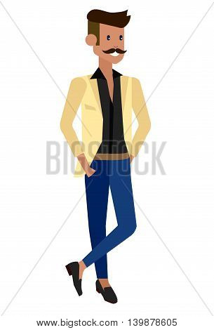Vector detailed character creative men isolated on white background