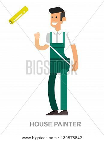 Vector detailed character man working and home repairing tools isolated vector illustration