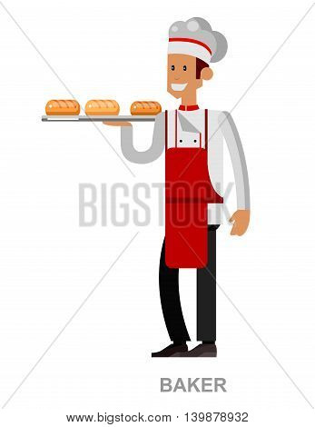 Poster design of baker, holding a basket with Bakery products